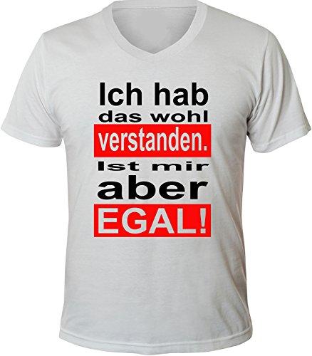 Mister Merchandise Herren Men V-Ausschnitt T-Shirt Ich habe das wohl verstanden. Ist mir aber egal Tee Shirt Neck bedruckt Weiß