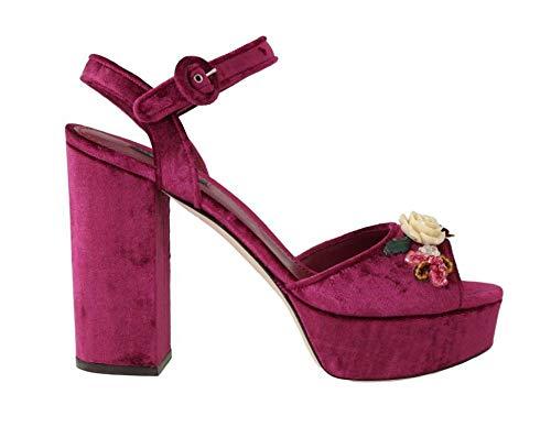 Dolce & Gabbana - Damen Sandalen - Purple Velvet Crystal Floral Sandal - EU 39