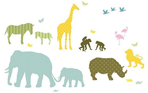 anna wand Wandsticker HELLO AFRICA - Wandtattoo für Kinderzimmer/Babyzimmer mit Tieren aus Afrika in versch. Farben - Wandaufkleber Schlafzimmer Mädchen & Junge, Wanddeko Baby/Kinder