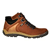 Lukpol Mens Natural Leather Trekking Walking Outdoor Boots (Brown - Model 951, UK 7 / EUR 41)