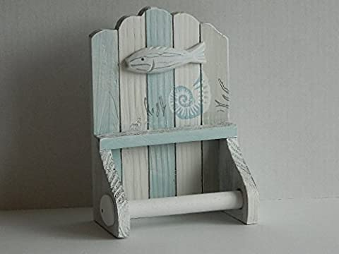 BLUE AND WHITE WOODEN TOILET ROLL HOLDER