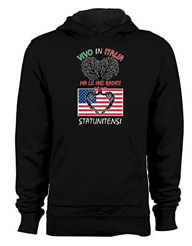 Felpa con cappuccio Vivo in Italia ma le mie radici sono statunitensi - Italy - USA - humor - idea regalo - in cotone Nero