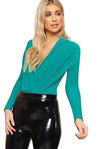 WearAll Femmes Plonger V-Neck Plissé Body Dames Longue Manche Slinky Collant Haut - 36-42 Vert