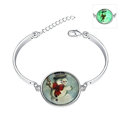 Daesar Damen Charm Armband Leuchtende Halloween / Weihnachten Geschenk Silber Farbe Weihnachten Schneemann Armreif Armbänder 15cm (+5cm Verlängerung)