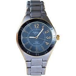 OMAX Men's Gold Silver Metal Blue Dial Swiss Wrist Watch Analog Quartz