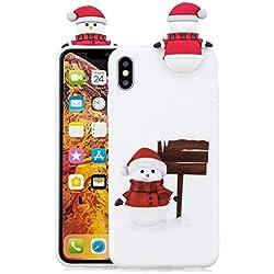 Funda iPhone XS, Dibujos Animados 3D Muñeco de Nieve Patrón de Estilo Navidad Suave Silicona TPU Durable Protectiva Trasera Color Sólido Caramelo Anti-rasguño Bumper - Blanco
