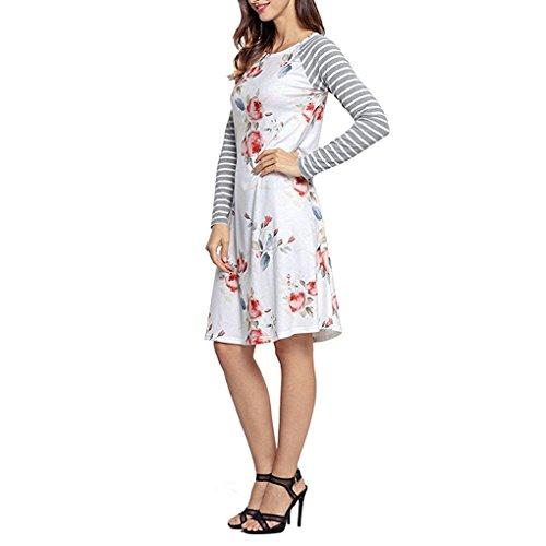 Robe Manche Longue Femme Automne Hiver Casuel Elégant Sweat a Fleur et Rayure Pullover Sweatshirt Robe A Line la Mode Vintage Chemiser Tunique Blouse Boheme Chic – Landove Blanc