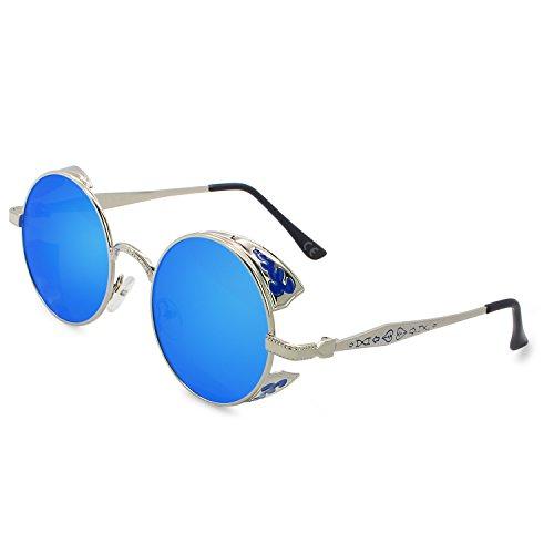 AMZTM Retro Gothic Steampunk HD Polarisierte Sonnenbrille für Frauen Vintage Metall Runde Kreis Rahmen Verspiegelt Fahrbrille UV400 Schutz (Silber Rahmen Eisblau Linse, 51)