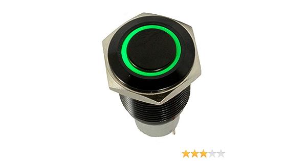 Houtby Schwarz Shell Engel Auge Kippschalter Druckschalter Schalter Drucktaster Druckknopf 16mm 12v Grün Licht Auto