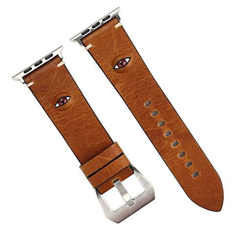 (Amcor Star Ersatz-Armband für Apple Watch, 38 mm, 40 mm, 42 mm, 44 mm, echtes Leder, mit großen Augen für Apple Watch Serie 4, 3, 2, 1, Sport, Nike+, Edition)