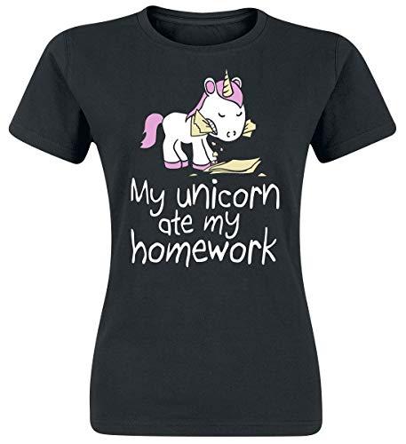 Unicornio My Unicorn Ate My Homework Camiseta Mujer Negro XXL