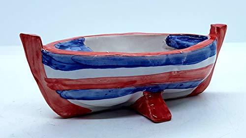 Posacenere Barchetta Realizzato e dipinto a mano Le Ceramiche del Castello Idea Bomboniera dimensioni 17 L x 5 H centimetri