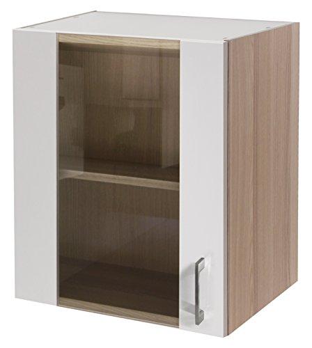 Flex-Well 00007140 Glas-Oberschrank Abaco Perlmutt glänzend, Akazie 50 x 54,8 x 32 cm