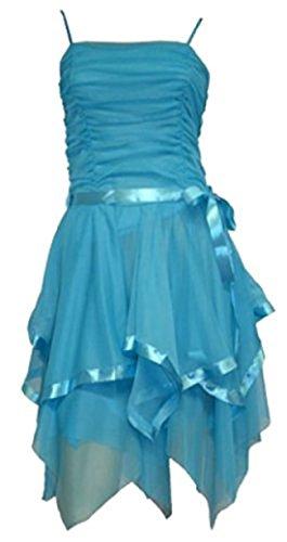 sugerdiva® Femme bretelles Soirée Party robe avec nœud en satin Turquoise