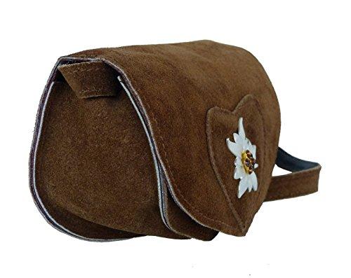 Umhängetasche Wildleder - Trachtentasche Echt Leder - Dirndl Tasche mit Satin Edelweiss Hellbraun