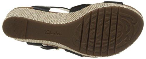 Clarks Caslynn Reece Damen Plateau Sandalen mit Keilabsatz Schwarz (Black Leather)