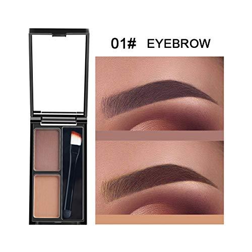 Allbesta Palette de poudre à sourcils 2 couleurs avec ensemble pinceau et miroir Kit de maquillage pour les sourcils Imperméable de longue durée
