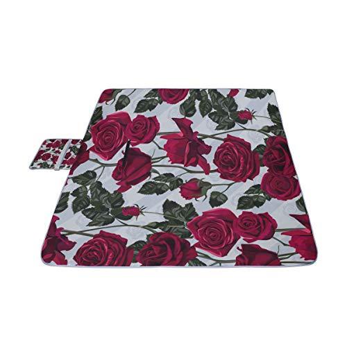 EIJODNL Schöne viele rote Rosen Picknick-Matte 57