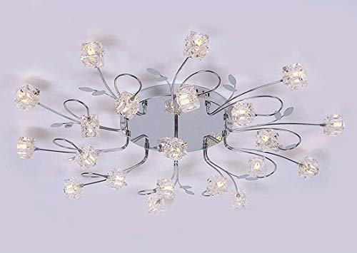 Hai Ying ♪ Moderne Deckenleuchte Metall-Glas-Blumendesign-Leuchte Chrom-Finish-Silber-Kronleuchter mit modernem poliertem Dekorativ-Blossom aus gebogenem Glas, 9-flächenbündige Glasdome-Schirme ♪ -