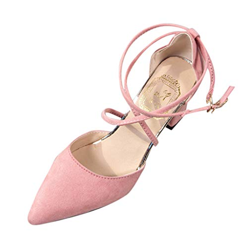 YEARNLY Damen Pumps Knöchel-Riemchen Blockabsatz Pointed Toe Sandalen Schwarz, Pumps Grau, Pink, Armeegrün Riemchen Pumps 34-40
