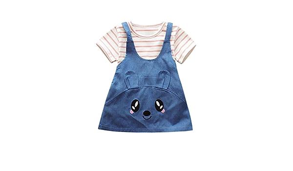 S/ü/ße Katze Jeans-Kleid Outfit BeautyTop Kleidung Set M/ädchen Baby M/ädchen Sommer Kleidung Set Kleidung Baby M/ädchen Kleiderset 2Pcs//Set Baby Streifen Kurzarm T-Shirt Bluse