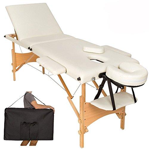 Vetrineinrete® lettino massaggio 3 zone beige professionale portatile pieghevole in legno massaggi estetica fiosioterapia con borsa