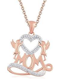"Silvernshine 1.35 Ct D/VVS1 Diamond Mom Heart Pendant 18"" Chain Necklace In 14K Rose Gold Fn"