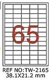 TANEX TW-2165 Marcatura di etichette per kl. Contenitore bianco 38,1 x 21,2 mm -eckig- 10 Bl. A4