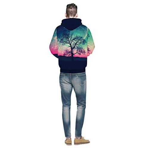Jiayiqi Unisexe Nouveauté 3D Imprimé à Capuche Sweat-Shirt à Capuche Occasionnel Avec De Grandes Poches Polar Aurora