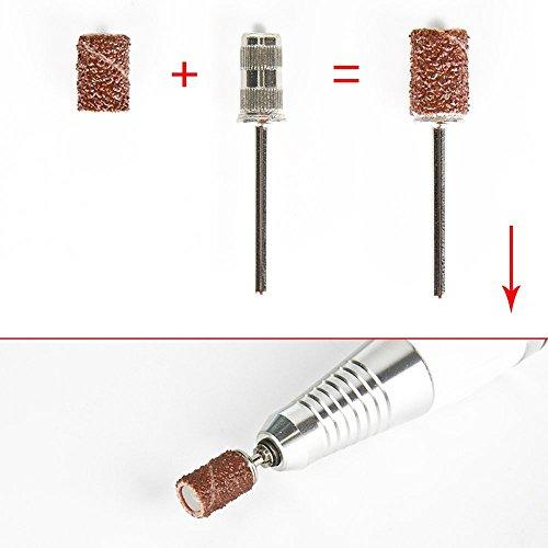 Herramienta de manicura de Torno máquina de pulido de uña eléctrica profesional 30000RPM + aguja de pulido de oro + cepillo de limpieza de metal / plástico + anillo de molienda
