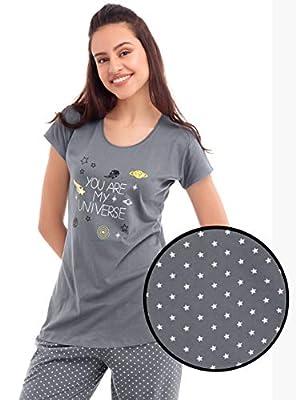 ZEYO Women's Cotton Star Print Night Suit