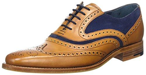 BARKER Men's McClean Brogues, Brown (Cedar Calf/Blue Suede), 8 UK 42 EU