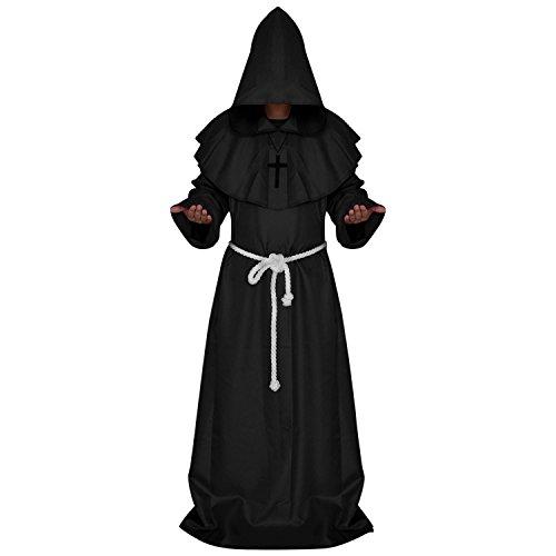 n Kostüm Mittelalter Mönch Robe Themenparty Mönchskutte inkl. Kreuzanhänger Gürtel Kostüm DREI Farben ()