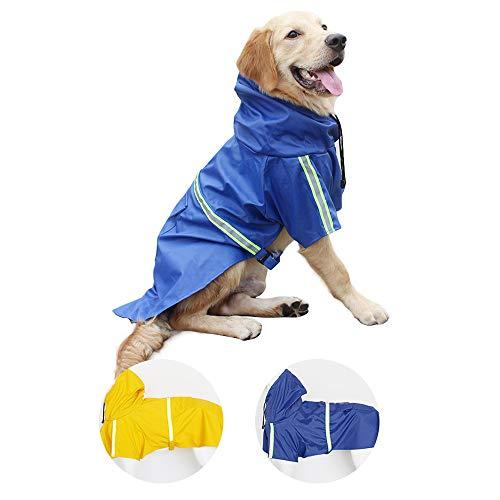 Impermeable Chien-Manteau de Chien léger imperméable avec Bande réfléchissante pour Petits Chiens de Taille Moyenne (Bleu 4XL)