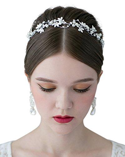 SWEETV Silber Perle Kristall Hochzeit Haarband Stirnbänder Krone Diadem Braut Tiara Haarschmuck Haarreif