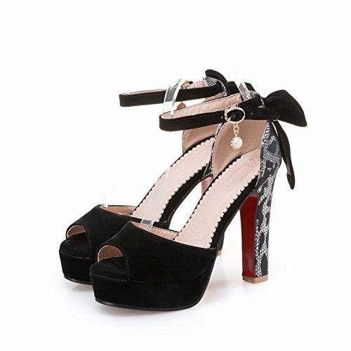 Mee Shoes Damen Peep toe Trichterabsatz ankle strap Pumps Schwarz