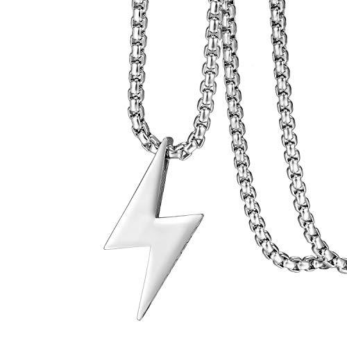 Flongo Herren-Kette Männer Anhänger Halskette, Edelstahl Halskette Kette Silber Blitz Lightning...