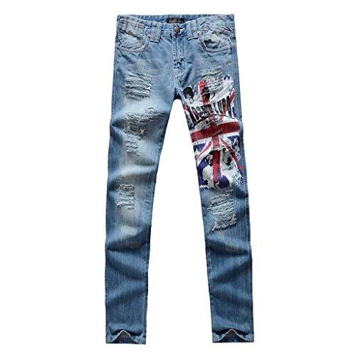 Jeansian Moda Pantaloni Casual Uomo Jeans Denim Sottile Uomini J017 Blue (Camouflage Cotton Tuta)