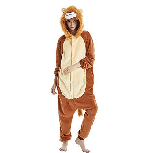 SHANGN Weibliche Pyjamas Jungen Tier Pyjama Löwe Sets Nachtwäsche Cosplay Erwachsene Reißverschluss Frauen Männer Winter Unisex Frauen Geschenke Für (Weiblichen Superhelden Kostüm Babys)