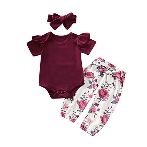 BeautyTop Baby Baby Mädchen Kleidung Set 3 Stück Baby Toddler Kinder Langarm Solid Spielanzug + Blumendruck Hosen + Haarband 3Pcs Kleinkind Neugeborenes Kinderkleidung (Weinrot#2, 18-24 Months)