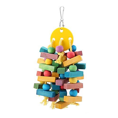 Giocattolo da masticare per uccelli, perline di legno colorate e blocchi di nodi appesi giocattolo pappagallo altalena per macaw africano grigio pappagallini amazzoni cacatua parrocchetto cockatiel pi