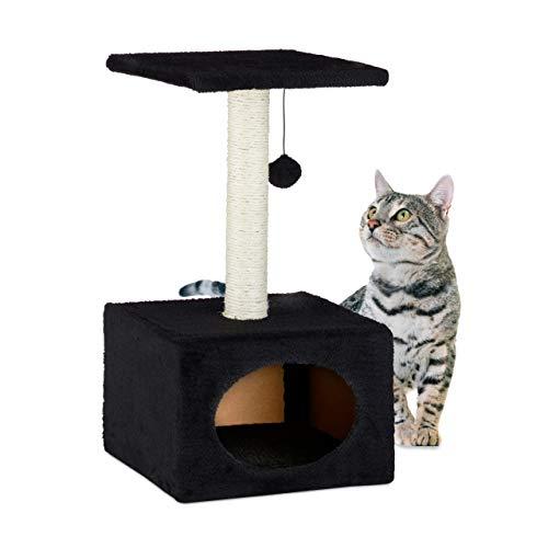 Relaxdays Árbol Rascador para Gatos con Cama Cueva, Sisal, Negro, 56 x 31 x 31 cm