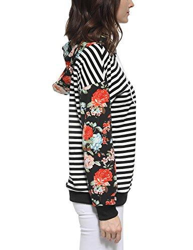 Blooming Jelly Frauen Hoodies Pullover Sweatshirt mit Blumenmuster in Horizontalen Streifen Beiläufige Pullover Patchwork Raglan Floral Sleeve Kordelzug Mit Rundhalsausschnitt mit Kapuze Spitze Schwarz