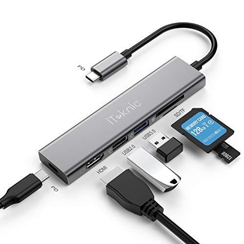 iTeknic Hub USB 6 1 USB Type C Hub Alimentato con Porta HDMI 4K USB C Power Delivery Lettore Schede SD/TF Porte USB 3.0 2.0 per MacBook PRO MacBook