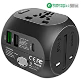 Adattatore Universale da Viaggio con QC3.0 Carica Rapida Tipo c e USB (US/EU/UK/AU) all-in-One Caricatore Caricatore Multifunzioni per Oltre 180 Paesi Internazionale, 2 Fuse (Spare Fuse) -Nero