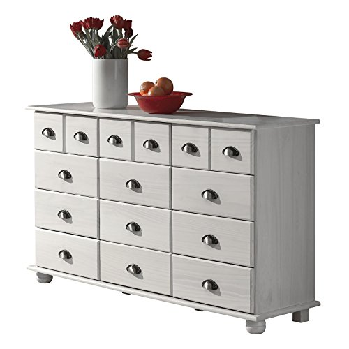 IDIMEX Kommode Apothekerschrank Landhauskommode Sideboard COLMAR mit 12 Schubladen, Muschelgriffe, in weiß