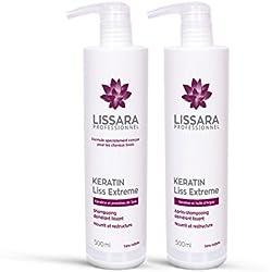Duo Shampoing et Après-Shampoing Sans Sulfate - à la kératine - Prolongateur Apres Lissage Brésilien - Made in France - 2 x 500ml