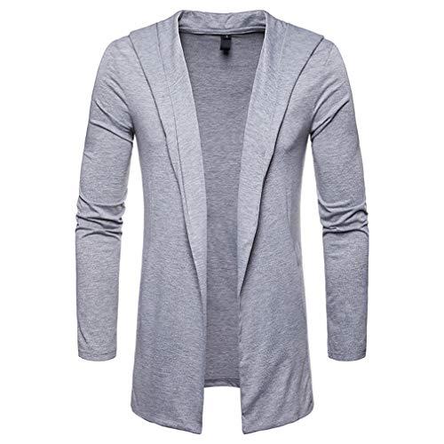 MIRRAY Herren Herbst Winter Solid Langarm Umlegekragen Cardigan Top Bluse