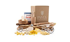 Pasta Making Kit - Pasta Evangelists - Expert Pasta Maker - Fresh Italian Artisan Pasta - 12 Piece Set - 00 Flour and Instructions Included - Beechwood Pasta Roller and Tools - Authentic Ingredients