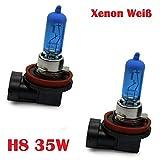 Halogen Scheinwerferlampe - XENON WEISS - Nebellampe Glühlampen für Nebelscheinwerfer 12Volt Zugelassen im Bereich der STVZO INION® (2x H8 35W)